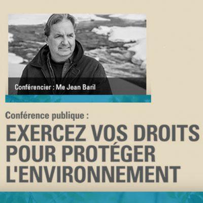 Conférence : Exercez vos droits pour protéger l'environnement (2018)